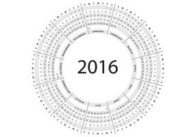 Grey Circular Calendar 2016 Vector