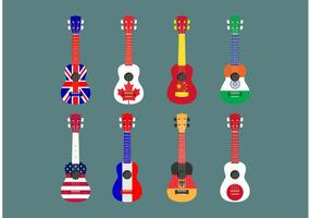 Flagga Themed Ukelele Vector Set