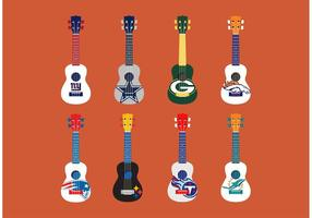 Fotboll Themed Ukelele Vector Set