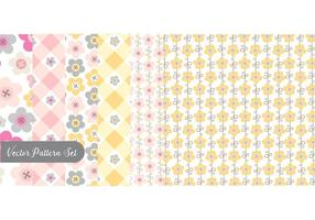 Flowers And Buttons Pattern Vector Set