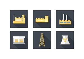 Iconos libres del vector del edificio industrial