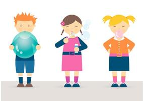 Free Kids Blowing Balloon, Bubbles And Bubblegum Vector