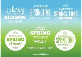 Typographic Spring labels vector