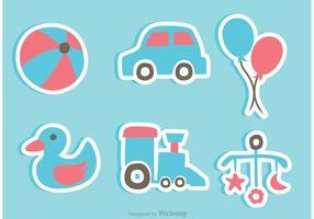 Juguetes del bebé Iconos de la etiqueta engomada