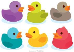 Vectores coloridos del pato de goma