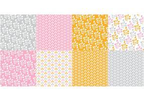 Orange flora mönster vektor uppsättning