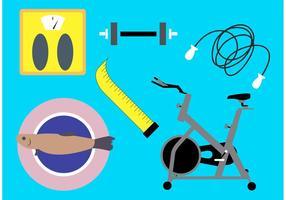 Dieta y Fitness vectores