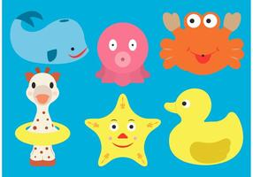 Vettori di giocattoli in gomma per il tempo del bagno