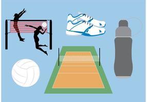 Ícones do vetor do tribunal de voleibol