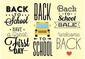 Vecteurs de typographie de retour à l'école