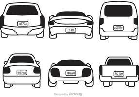 Bilar med licensplattor vektorer
