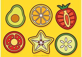 Fatias de frutas e vegetais vetores