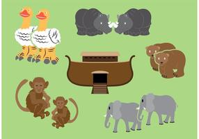 Ark Vector With Animals By Two