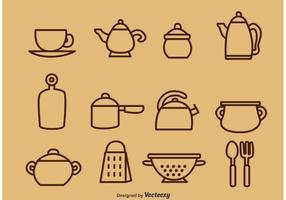 Gekleurde Vintage Kitchen Utensil Vector Pictogrammen