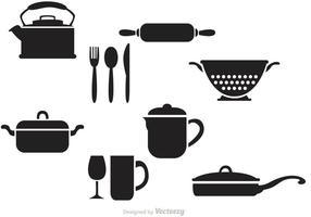 Vectores negros de la cocina de la vendimia