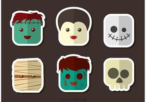 Vectores de carácter cabeza de Halloween