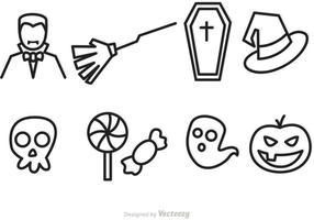 Iconos del vector del esquema de Víspera de Todos los Santos