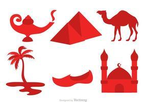 Ícones vermelhos do vetor da cultura de Marrocos