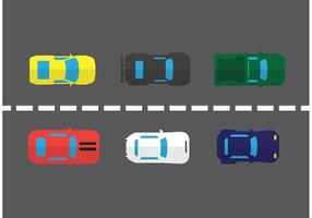 Conjunto de vector de la vista aérea del coche