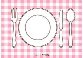 Vector Gingham Dinner Table Setting