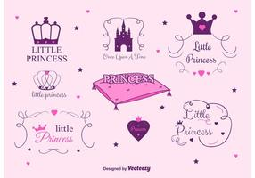 Set med Princess Castle Vector Etiketter