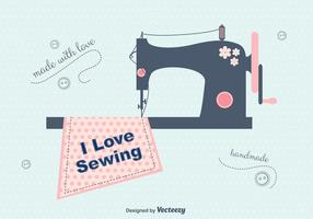 I Love Sewing Vector Background