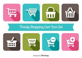 Trendy Shopping Cart Icon Set