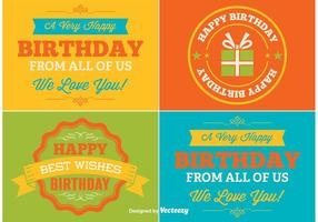 Etiquetas do vetor do feliz aniversario