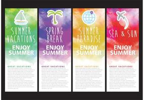 Watercolor Vacation Banner Vectors