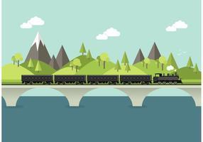 Steam Train In Landscape Vector
