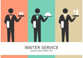 Vector Waiter Service Stick Figure Pictograms