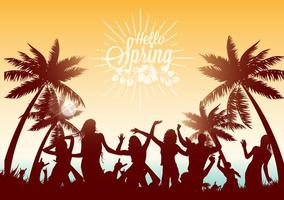 Danza libera sull'illustrazione di vettore della spiaggia