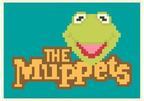 Pixel gratuit kermit l'affiche de vecteur de grenouille