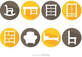 Iconos de vectores de muebles de sombra larga