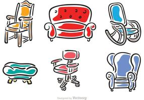Vetores de cadeiras desenhadas a mão