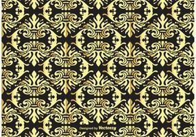 Oro y fondo negro del damasco