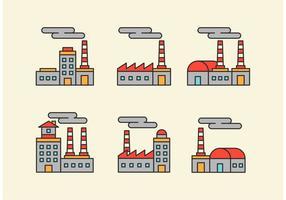 Fabrik Vektor Icons mit Gliederung Stil