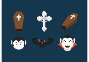 Dracula And Coffins Vector Icons