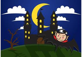 Dracula Haunted House Vector Background