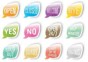 Mensagens vetoriais da rede social