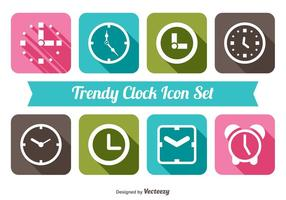 Trendy Clock Icon Set