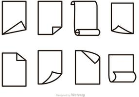Vector Paper Outline Icons Set
