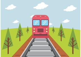 Train On Railroad Vector