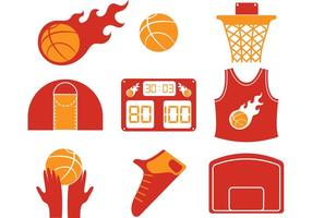 Ícones de vetor de basquete quente