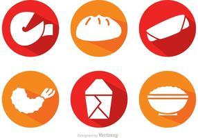 Iconos de sombra de comida china de vector largo