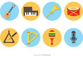 Ícones do círculo dos instrumentos de música do vetor