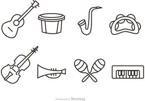 Outline Music Instrument Vector Ikoner