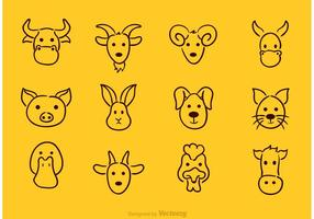 Ícones de desenho de rosto animal de vetor