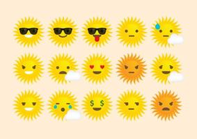 Emoticones del vector del sol