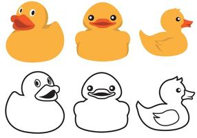 Rubber Duck Color And Outline Vector